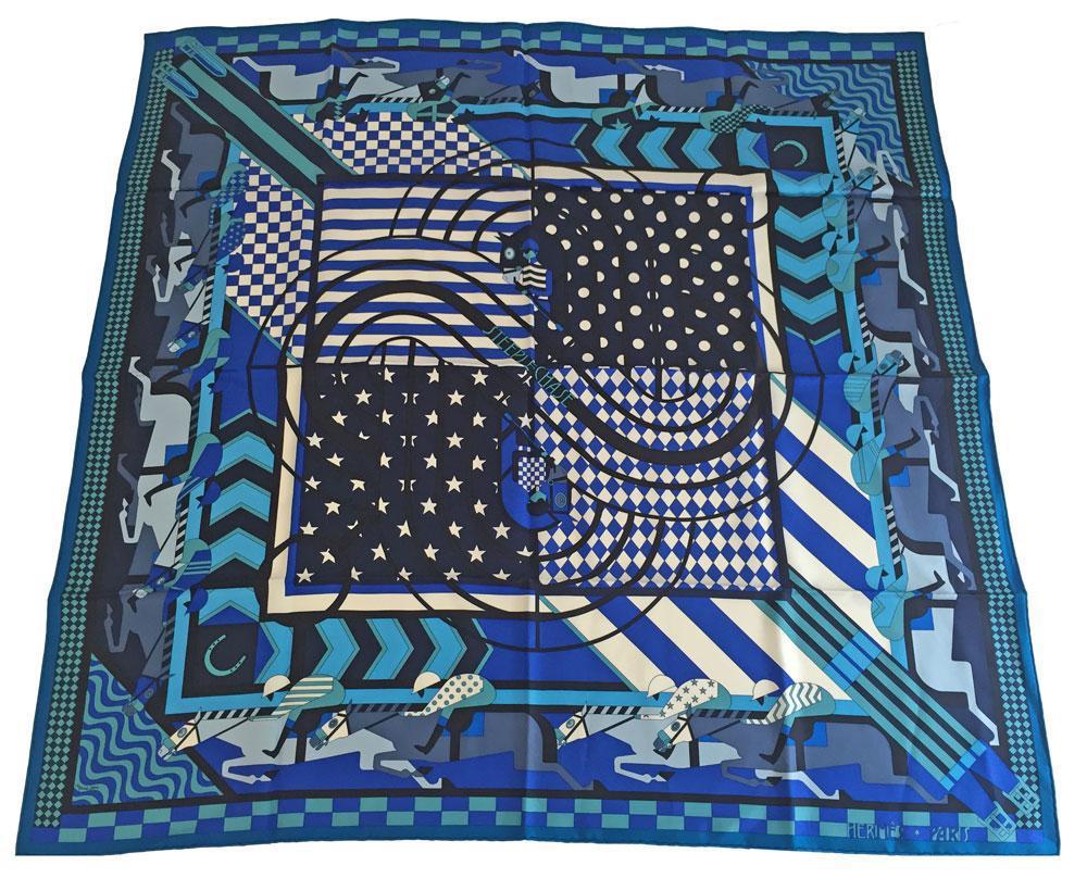 【キャッシュレス5%還元対象】≪送料無料≫ HERMES エルメス スカーフ カレ シルクツイル 90 STEEPLE CHASE 青