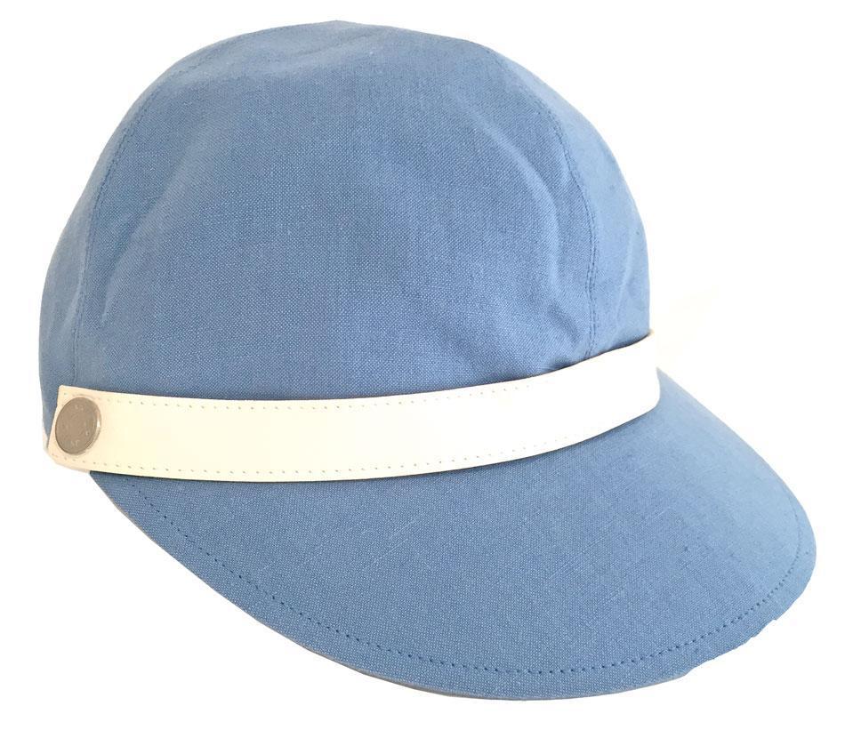 【キャッシュレス5%還元対象】≪送料無料≫HERMES エルメス キャップ 帽子 セリエボタン リネン×コットン 水色