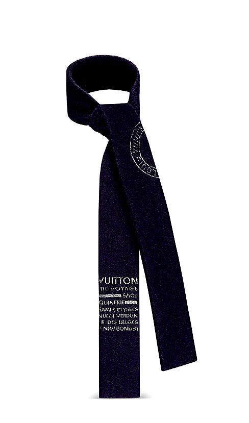 《新品》 LOUIS VUITTON ルイヴィトン スリムスカーフ・トランクスタンプス 紺 マリーヌ MP1807 箱のラッピング