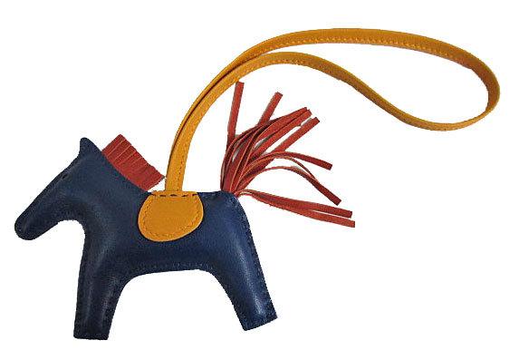 【キャッシュレス5%還元対象】《新品》エルメス ロデオ 「GRIGRI RODEO」 馬 革 チャーム PM ブルードマルト×ポルナリン×ジョーヌドール