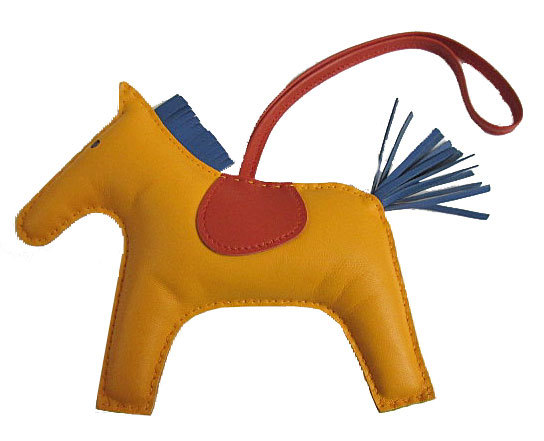 【キャッシュレス5%還元対象】≪送料無料≫ 新品 エルメス ロデオ 「GRIGRI RODEO」 馬 革 チャーム GM ジョンヌドール×ブルーアガット×ポルナリン