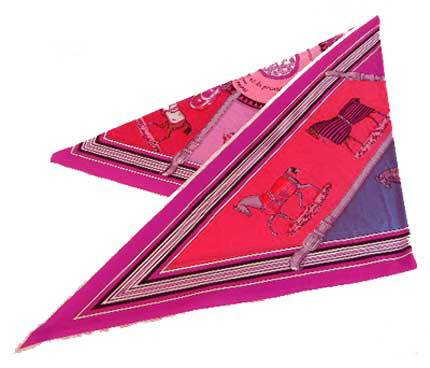 【キャッシュレス5%還元対象】≪送料無料≫ エルメス 三角 スカーフ シルク 馬柄 ピンク