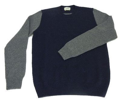 【キャッシュレス5%還元対象】エルメス メンズ セーター 紺×グレー Lサイズ 心斎橋ミュゼ