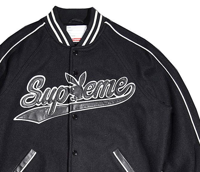 ≪新品≫ 17FW Supreme / Playboy Wool Varsity Jacket シュプリーム ジャケット 黒 Mサイズ