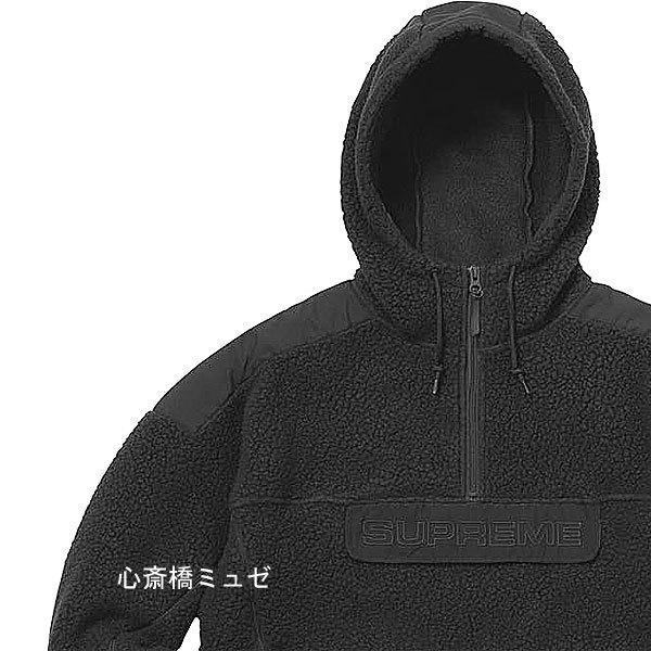【キャッシュレス5%還元対象】[新品] 17FW SUPREME Polartec Hooded Half Zip Pullover BLACK Lサイズ パーカー フーディ 黒