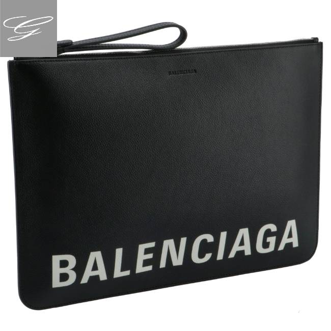 バレンシアガ メンズ セール特価 クラッチバッグ BLACK 待望 BALENCIAGA カーフスキン 630626-1IZK3-1090 バッグ 2021年春夏新作