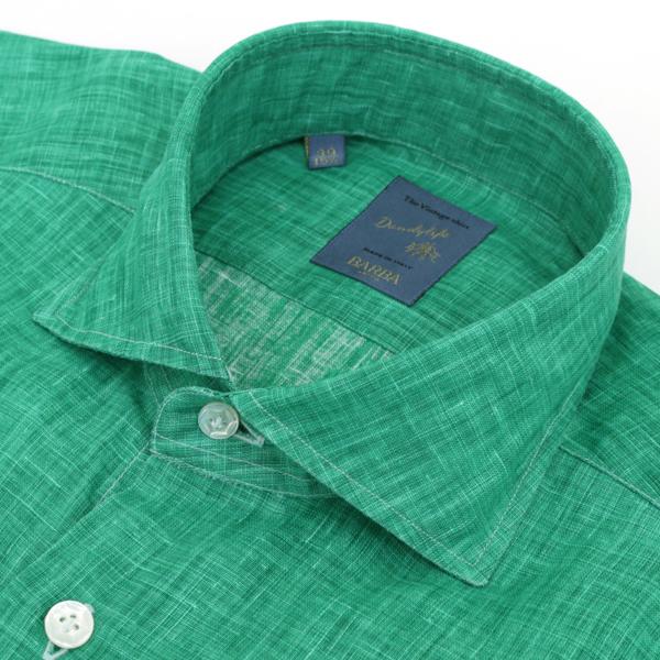 【2019AW SALE】バルバ/BARBA シャツ メンズ DANDYLIFE リネンシャツ GREEN LIU136-5348-08UGRE