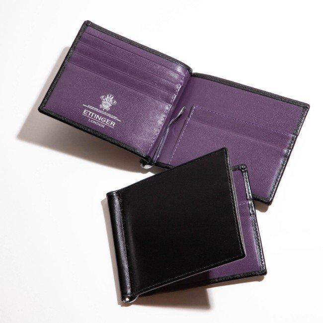 エッティンガー 2つ折り財布 ETTINGER 財布 メンズ STERLING ブラック×パープル 2019年春夏新作 ST787AJR-0002-0004