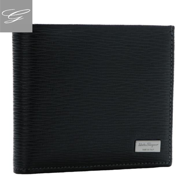 フェラガモ 二つ折り財布 FERRAGAMO メンズ 財布 リバイバル 型押しカーフスキン ブラック 2020年秋冬 667070-0007-0010