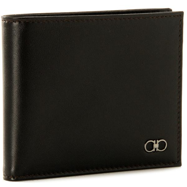 フェラガモ FERRAGAMO 財布 メンズ ニュークラックル カーフスキン 2つ折り財布 ダークブラウン×ネイビー 669668 0001 0042kuiXZTOP