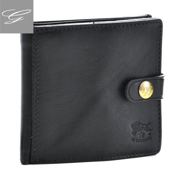 イルビゾンテ/IL BISONTE 財布 メンズ カーフスキン 2つ折り財布 ブラック 2019年春夏新作 C0816-P-153