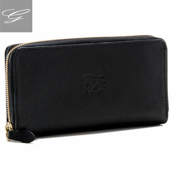 イルビゾンテ/IL BISONTE 財布 レディース メンズ カーフスキン 2つ折り長財布 ブラック C0857-P-153