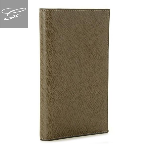 ヴァレクストラ 2つ折り長財布 VALEXTRA 財布 メンズ グレインレザー グレーカーキ V8L15-028-00AL