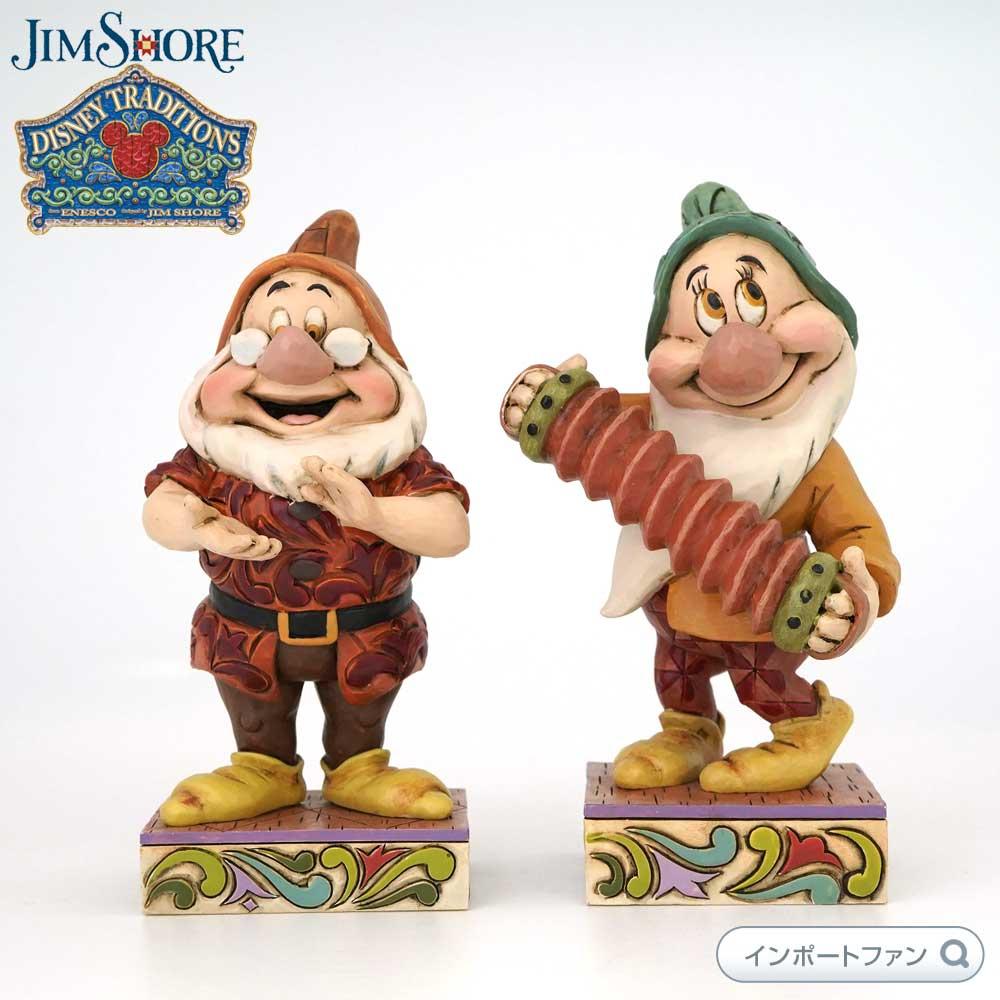 ジムショア ドックとバッシュフル 思いやりのこもったアコーディオン奏者と手拍子 二点セット 白雪姫 ディズニー 4032873 Affable Accordionist Clap Along-Doc And Bashful Figurine Set JimShore □