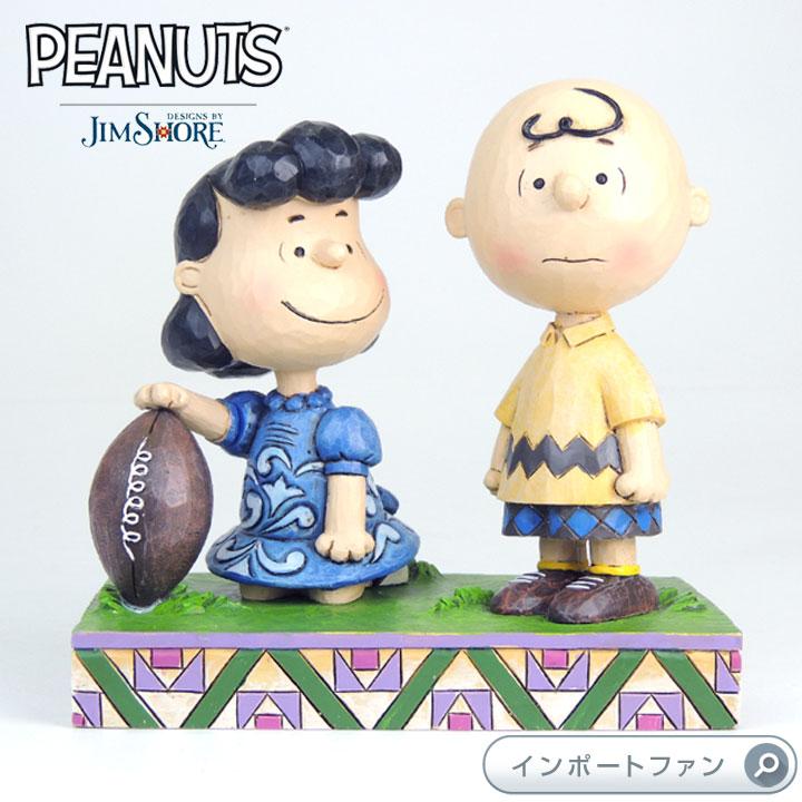 ジムショア ルーシーとチャーリーブラウン フットボール 決してあきらめない スヌーピー 4042376 Never Give Up-Football Lucy And Charlie Brown Figurine JimShore □