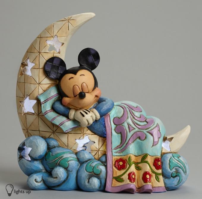 ジムショア ミッキーマウス 月の上 おやすみ ディズニー 4043662 Sleep Tight Little One-Mickey On The Moon Nightlight Figurine JimShore □