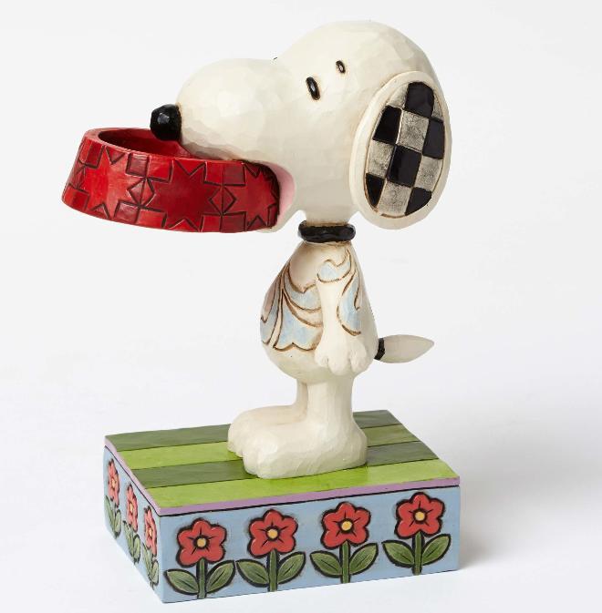 ジムショア スヌーピーと犬のお皿 もっと食べ物ちょうだい   4049411 More Food Please-Snoopy Holding Dog Dish Figurine JimShore □
