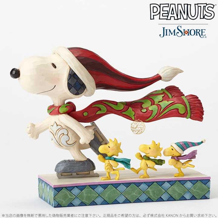 ジムショア スケートメイト アイススケートをするスヌーピーとウッドストックの仲間達 置物 4052718 Skate Mates Ice Skating Snoopy with Friends JimShore