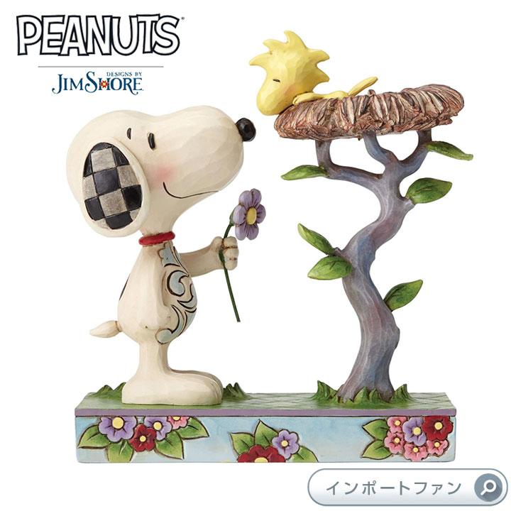 ジムショア スヌーピーがウッドストックに花をプレゼントしている置物 スヌーピー 4054079 Nest Warming Gift-Snoopy with Woodstock in Nest Figurine JimShore □