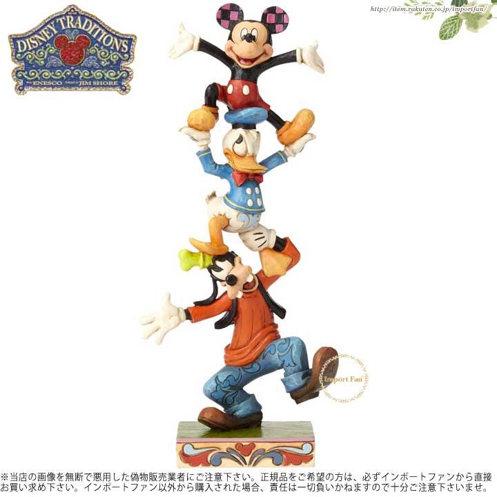 ジムショア グーフィー、ドナルド、ミッキーがツリーになった フィギュア 4055412 Teetering Tower-Goofy, Donald, and Mickey Figurine JimShore □