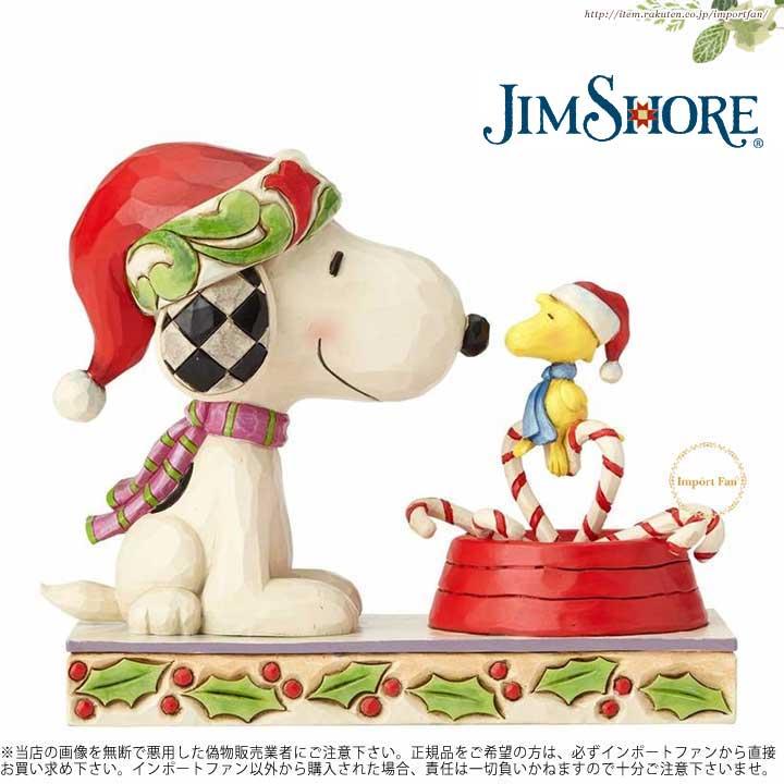 ジムショア キャンディケインをかわいくあしらったクリスマススヌーピー&ウッドストックの置物 スヌーピー 4057678 Candy Cane Christmas-Snoopy & Woodstock with Candy Cane Figurine JimShore 【ポイント最大43倍!お買い物マラソン セール】