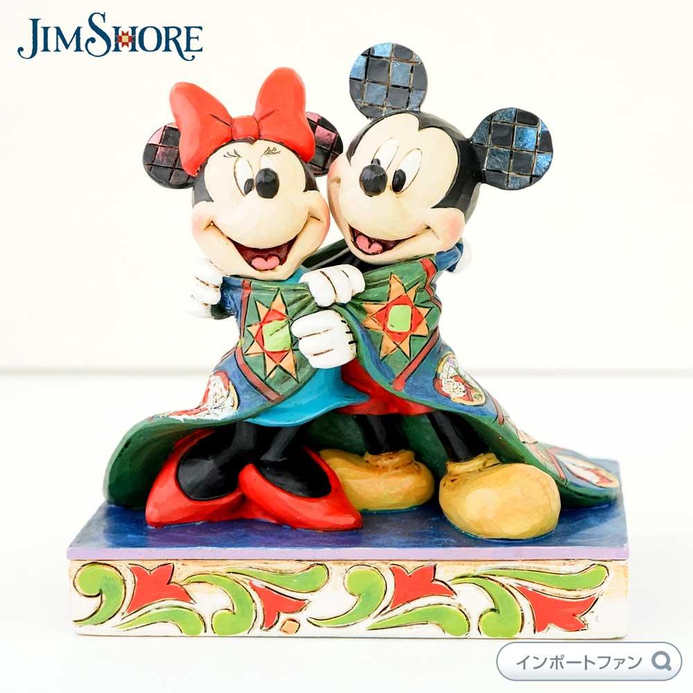 ジムショア クリスマスの毛布に包まれるミッキーとミニー 4057937 Mickey and Minnie With Quilt JimShore □