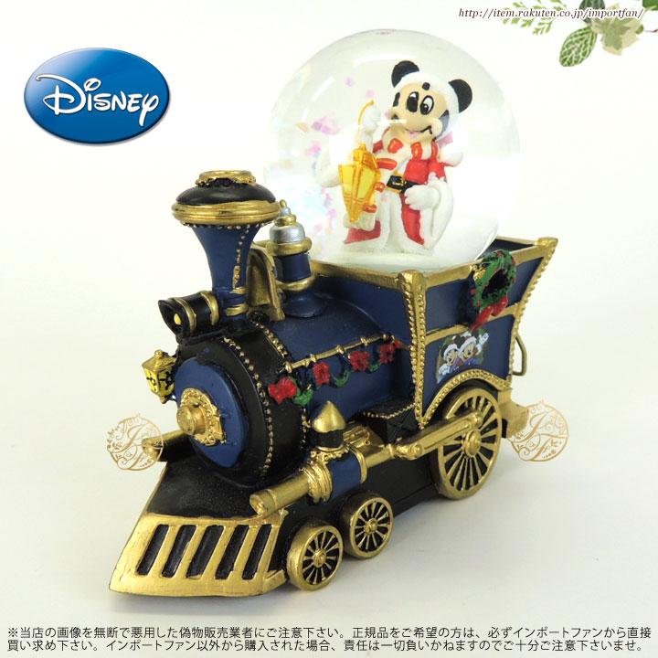 ディズニー ミッキーマウス ミュージカルスノーグローブ Disney Mickey Mouse Christmas Musical Locomotive Snowglobe スノードーム □