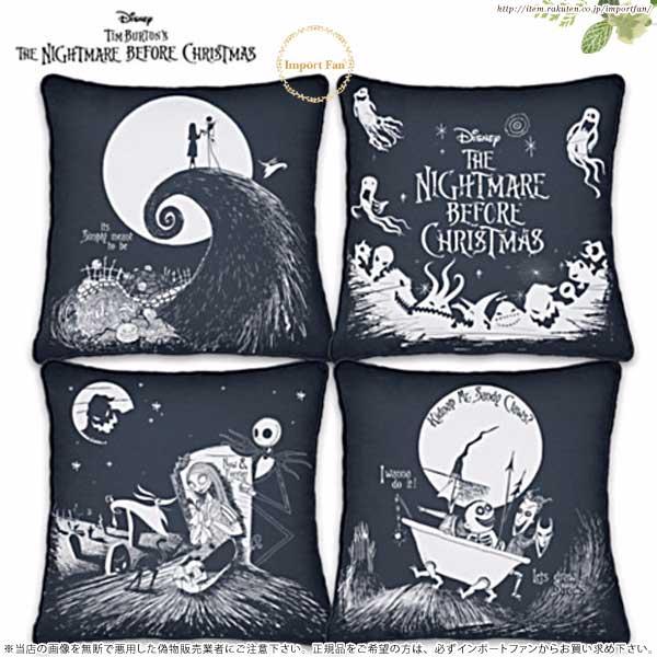 ディズニー ナイトメアー ビフォア クリスマス クッション 4個セット Disney Tim Burton's Nightmare Before jack and sally Christmas Pillow Set【特別予約生産販売品】 □