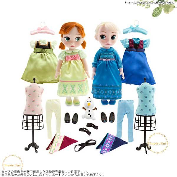 ディズニーストア海外正規品 アナと雪の女王  エルサ アナ トドラー(子供時代) ドール フィギュア 着せ替えセット Disney ディズニー □