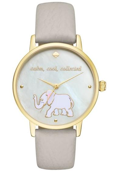 Kate Spade ケイトスペード メトロ エレファント レザー ストラップ ウォッチ 時計 metro elephant leather strap watch 34mm 正規品□