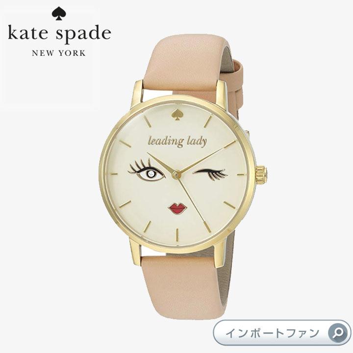 Kate Spade ケイトスペード メトロ ウィンク ラウンド レザー ストラップ ウォッチ 時計 metro wink round leather strap watch, 34mm □