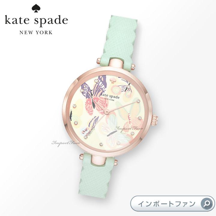 Kate Spade ケイトスペード ホーランド バタフライ レザー ストラップ ウォッチ 腕時計 Holland Butterfly Leather Strap Watch □