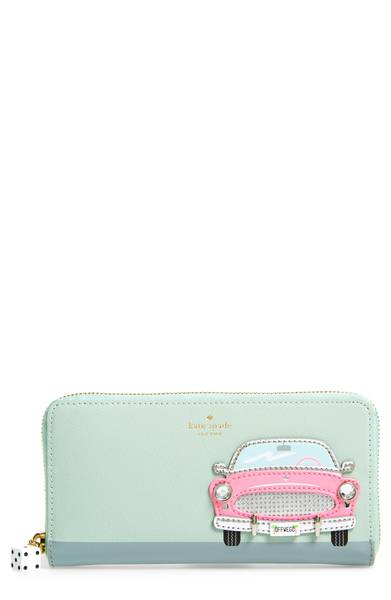 Kate Spade ケイトスペード チェッキング イン ピンク カー アップリケ レイシー 長財布 Checking In Pink Car Applique Lacey 正規品□