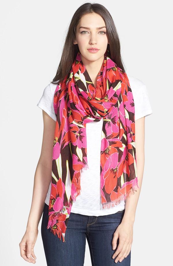 Kate Spade ケイトスペード リオ トロピカル フローラル スカーフ rio tropical floral scarf 正規品 □