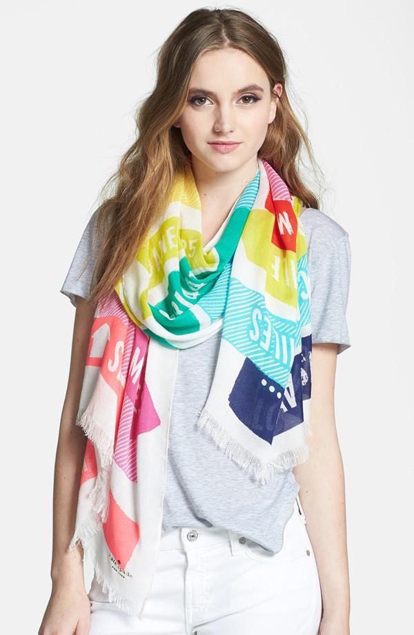 Kate Spade ケイトスペード サイン ポスト スカーフ sign post scarf 正規品 □