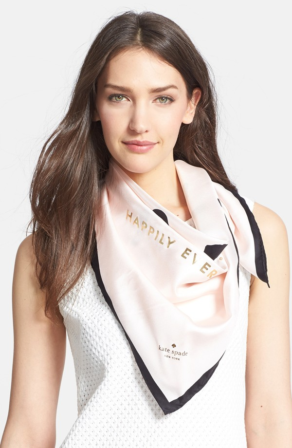 Kate Spade ケイトスペード ジャスト マリード シルク スクエア スカーフ just married silk square scarf 正規品 □