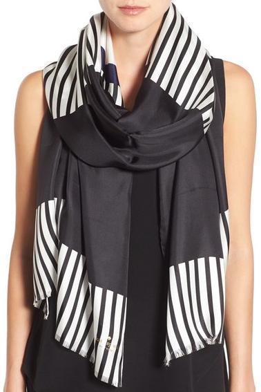 Kate Spade ケイトスペード ベイ ストライプ シルク スカーフ bay stripe silk scarf 正規品【ポイント最大43倍!お買物マラソン】
