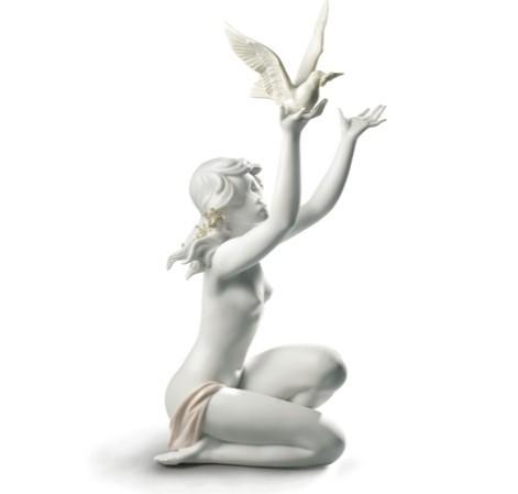 リヤドロ 平和を求めて ホワイト 女性 鳩 鳥 01008799 LLADRO PEACE OFFERING 【ポイント最大43倍!お買物マラソン】