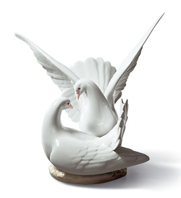 リヤドロ 愛の巣 鳥 01006291 LLADRO 白い鳩 結婚祝いにも □