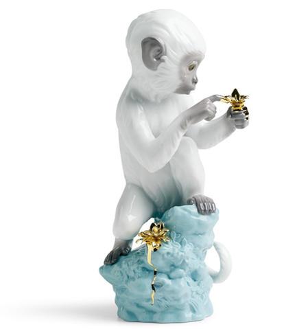 リヤドロ 興味津々‐ターコイズ 白猿 01007238 日本未発売 LLADRO Curiosity - Monkey on Darl Turquoise Rock 【あす楽】 【ポイント最大43倍!お買物マラソン】
