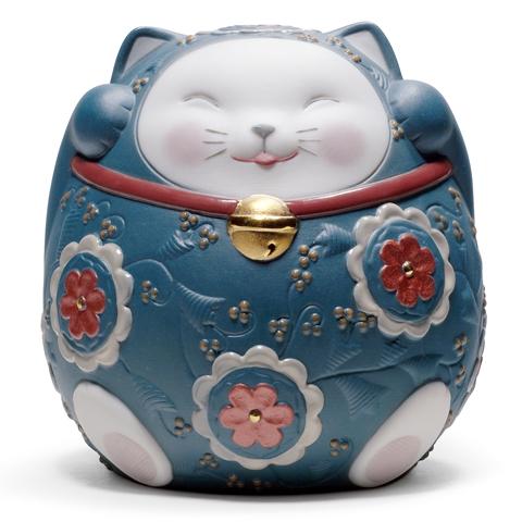 リヤドロ 招き猫 (Blue) 01008529 LLADRO お正月飾りやインテリアに 【ポイント最大42倍!お買物マラソン】