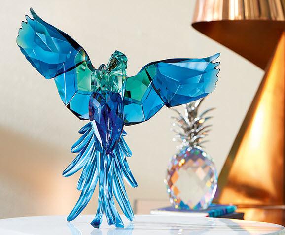 スワロフスキー オウム (ブルー) 鳥 5136775 置物Swarovski Blue Parrots □