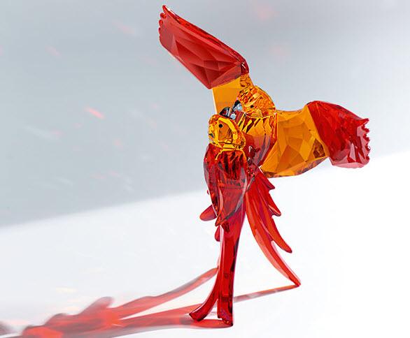 スワロフスキー オウム(レッド) 鳥 5136809 置物 Swarovski Red Parrots□