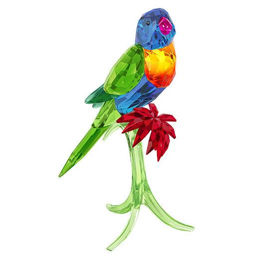 スワロフスキー ゴシキセイガイ インコ 鳥 レインボー 5136832 置物 Swarovski Rainbow Lorikeet□