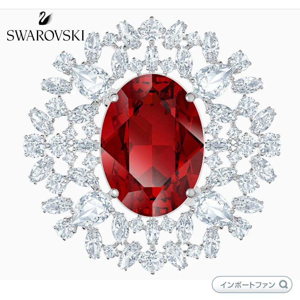 スワロフスキー ルイゾン レッド スカーレット ブローチ 木葉 Swarovski LOUISON BROOCH RED RHODIUM PLATED 5495263 入学式 セレモニー フォーマル 入卒式□