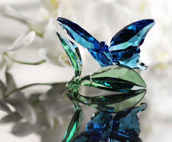 スワロフスキー チョウチョと葉 蝶 5136834 Swarovski Butterfly on Leaves□
