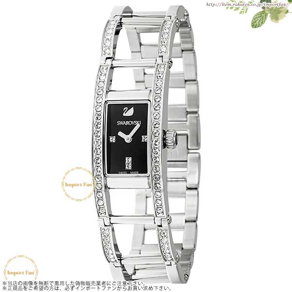 スワロフスキー Indira ブラックダイアル ステンレス 腕時計 1186075 Swarovski Indira Black Dial Stainless Steel Quartz Ladies Watch □