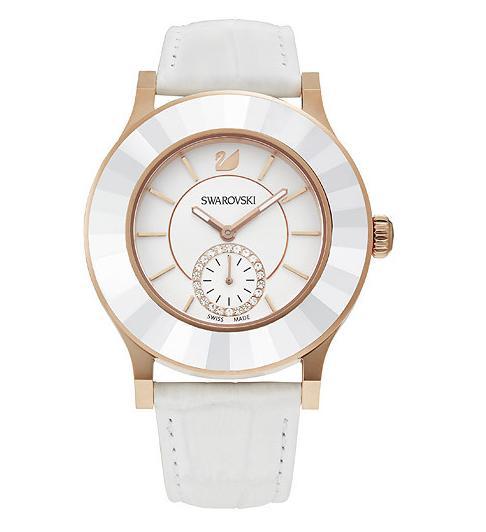 スワロフスキー オクテア クラッシカ ホワイト ローズ ゴールド トーン ウォッチ 腕時計 5043143 Swarovski Octea Classica White Rose Gold Tone Watch □