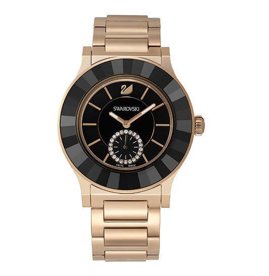 スワロフスキー オクテア クラッシカ ブラック ローズゴールド トーン ブレスレット ウォッチ 腕時計 5043192 Swarovski Octea Classica Black Rose Gold Tone Bracelet Watch □