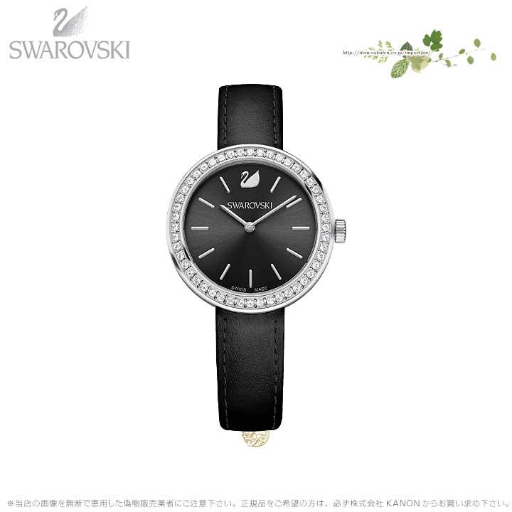スワロフスキー デイタイム ウォッチ レザー ストラップ ブラック シルバー 時計 5172176 Swarovski □